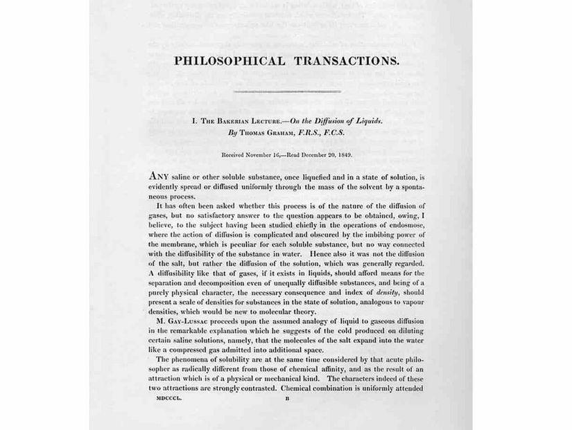 Рукопис «Бейкерійська лекція» Томаса Грема про «Осмотичні сили»